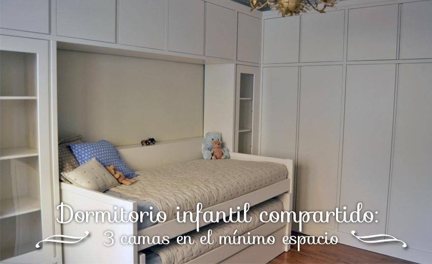 Dormitorio infantil compartido: 3 camas en el mínimo espacio   el ...