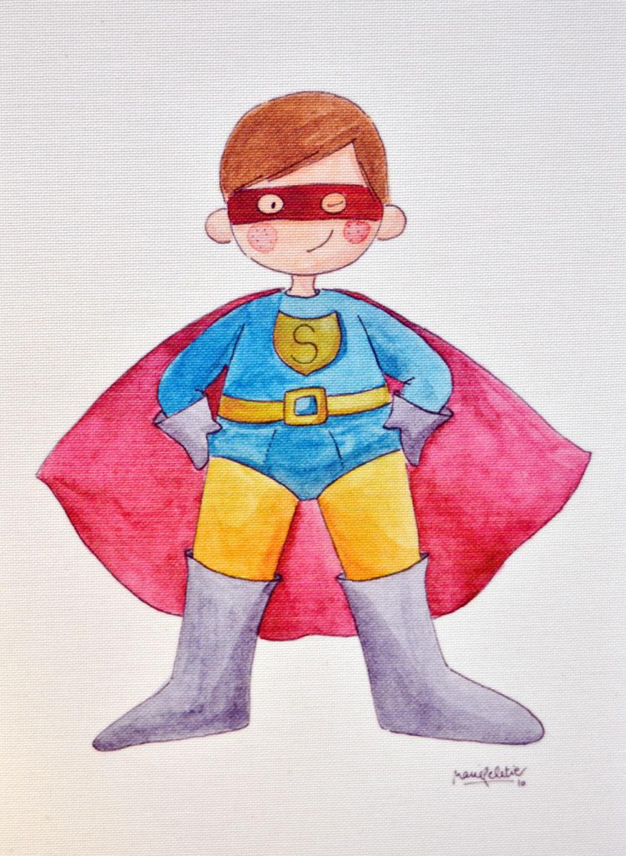 Lámina Cuadro infantil superheroesuperheroe