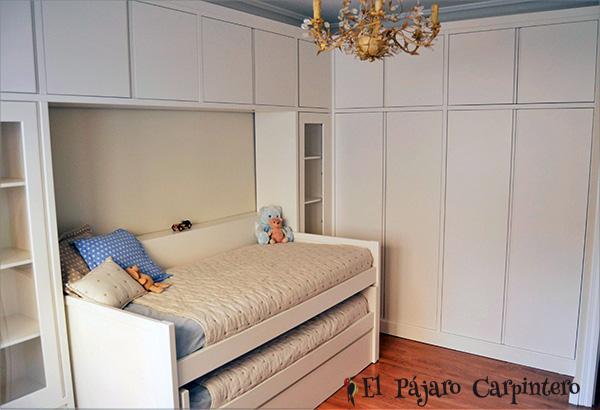 cama con puente y armario