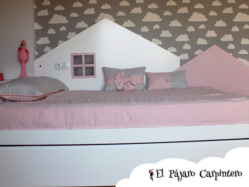 cabecero casita cama nido