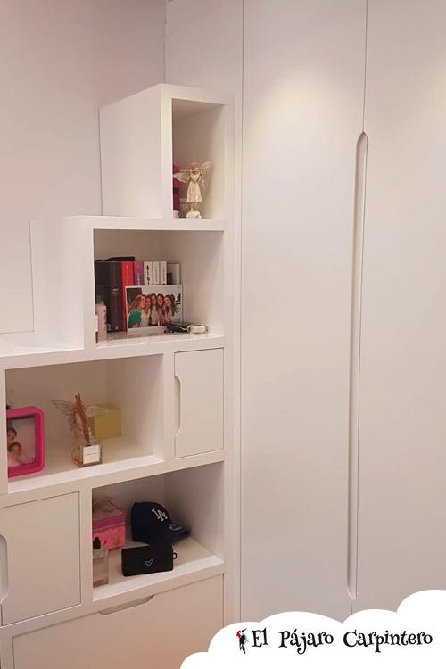 estanteria y armario de apoyo cama