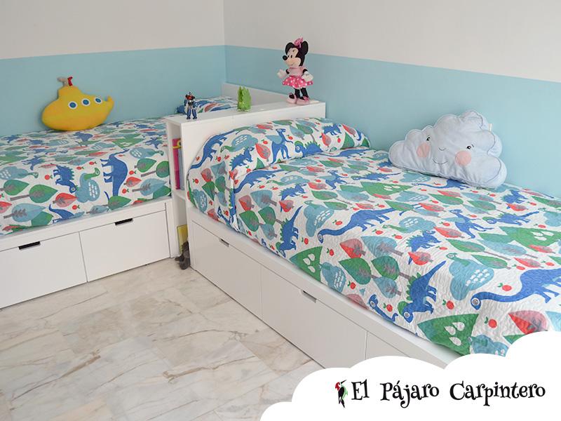 Camas en L en dormitorio infantil