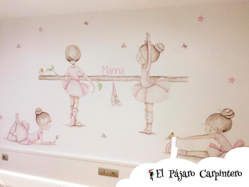 Mural de bailarinas para pared principal del dormitorio