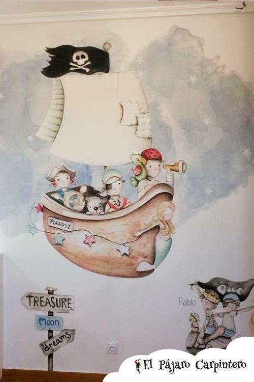 Mural de piratas para dormitorio infantil