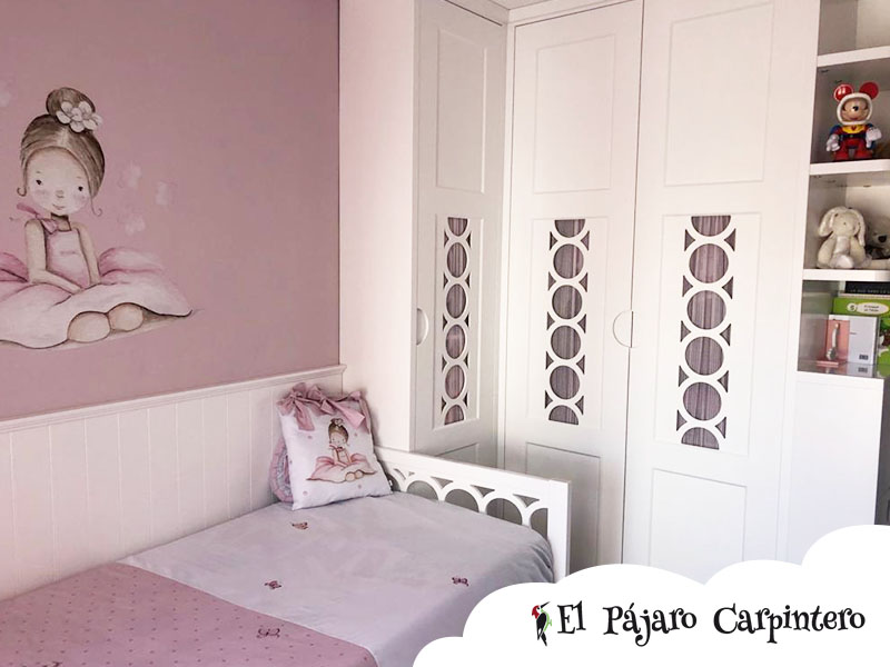 Armario en forma de L para dormitorio infantil integral