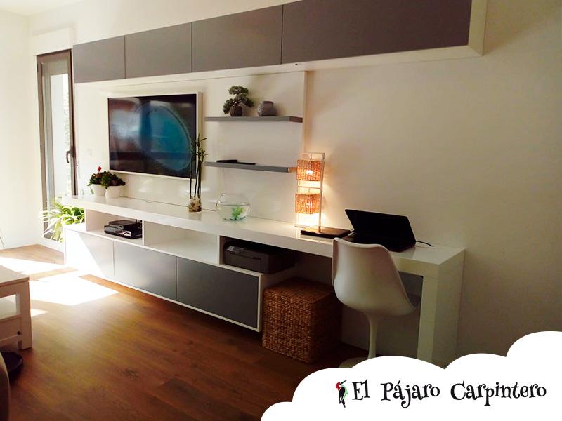 Mueble de salón con escritorio