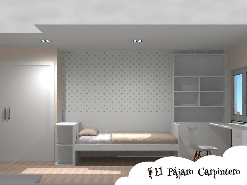 Diseño renderizado dormitorio de la niña