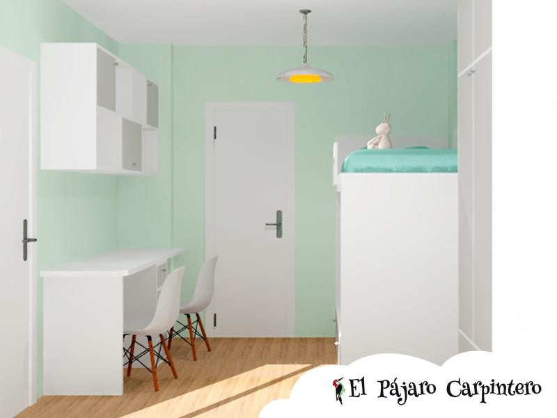 Simulación en 3D del dormitorio