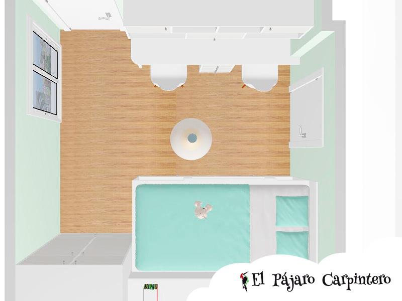 Simulación en 3D planta del dormitorio