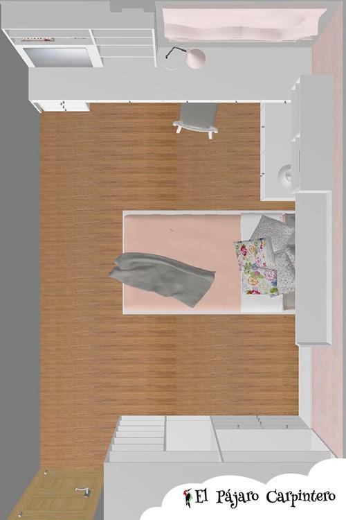 Vista en planta del dormitorio de inés