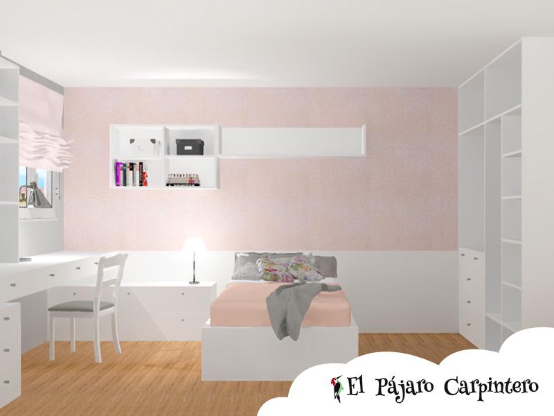 Vista 3D del dormitorio